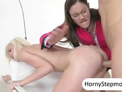 milf, threesome, mom, facial,