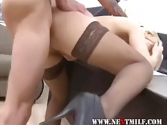 Blonde takes cock from... video