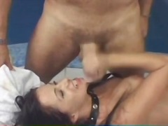 Girl spits cum from mouth onto the camera