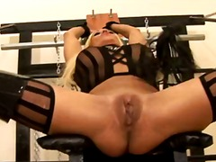 casting, latex, big, spank, blonde