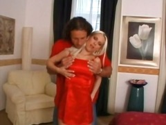 Alpha Porno - He goes down on hot blonde in red satin dress