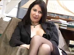 Busty brunette in blac... preview