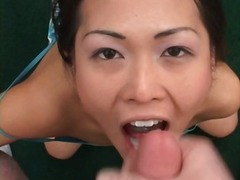 cum, mouthful, asian
