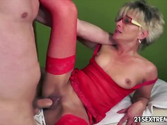 facial, heels, boobs, kissing, ass, granny, stockings, fingering, blowjob, tits, blonde, natural, mature, glasses, hardcore