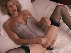 shemale, blonde, toys, lingerie, solo