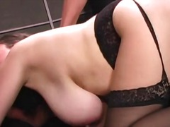 Fat girl in black stockings fucked in...