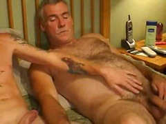 jerking, gay, blowjob, hairy, tattoo,