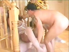 Amazing sex on a stairs for a shemale satisfaction