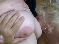 Nasty old slut goes crazy jerking