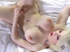 blonde, natural boobs, solo, toys,