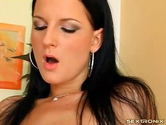 Girl fondles tits while her cunt gets...