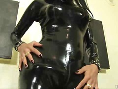 Latex clad tranny cums