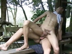 gape, anal, rimjob, gay, outdoors, dp,