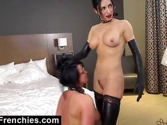 Alpha Porno Movie:Kinky lesbians posing in leather