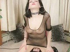 busty, crossdresser, fishnet, goth,