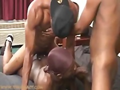 Aroused black trio hot sex