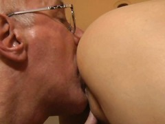 Horny girl sucking old...