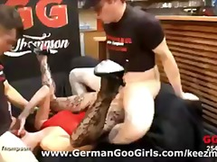 euro, group, brunette, gangbang, cum