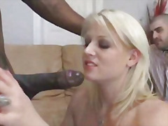 Thumb: Hot blonde fucks big c...