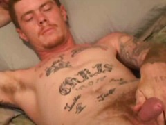Tattooed gay guy solo wanking