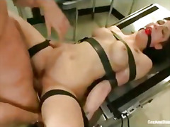 H2porn Movie:Bound on gynecological table n...