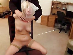 dildo, sex toy, toy, bound, hogtied, domination, slave, toys, babe, orgasm, gagging, bdsm, tied, vibe, vibrator, fetish, blonde, shaved, gagball, strapon