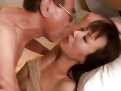 H2 Porn - Milf giving blowjob squirting while hairy pussy fucked by old husband creampie on the bed in the ...
