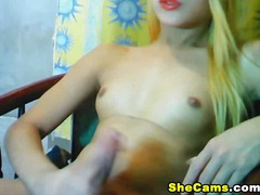 shemale, blonde, big, cock, solo