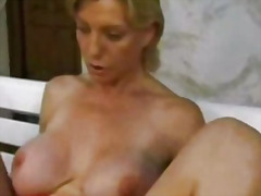 German mature blonde fist anal in car