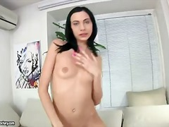 Skinny brunette bitch alaine takes of...