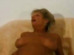 H2porn Movie:Grannie gets banged hard by tw...