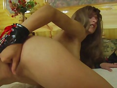 Cute slim girl fingers her wet pussy