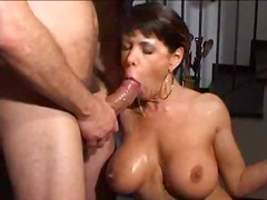 threesome, cumshot, brunette, dp, boobs,