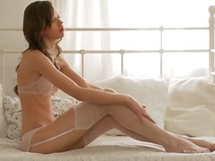 Alpha Porno Movie:White and pink lingerie is fla...