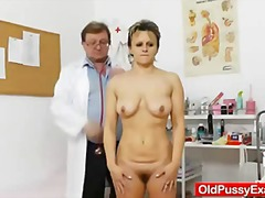 gyno, milf, vagina, elder, exam, bushy, doctor, pussy, fingering, gyn, hairy, old, opening, wife, cougar, clinic, mature, closeup