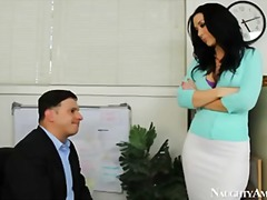 Brunette boss with big tits jayden jaymes has employee fuck her tits
