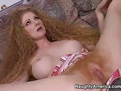 Curly redhead milf enjoys in giving