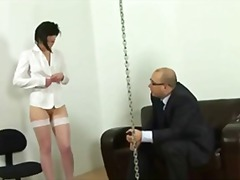 humiliation, stockings, brunette, secretary, domination, discipline, spank