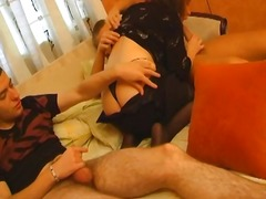 Two dudes get a busty mature bru...
