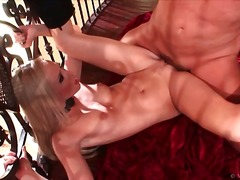 Flexible blonde in black boots pounded in cunt