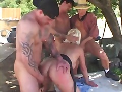 mature, gangbang, blonde, group, double,