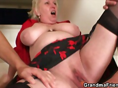 Nasty granny spreads her legs for two...
