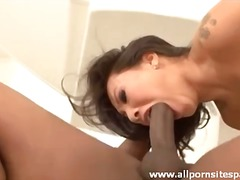 Asian with tattoos sits pussy on a big black cock