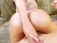 Deep anal garden sex with bitch