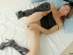 Amateur asian enjoying her dildo here
