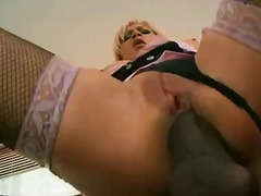 Hot blonde lee lexxus bangs with black man