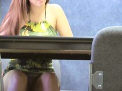 Blonde girl in sundress stars in voyeur clip shot in the cafe