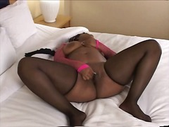 Big black chick rubs h...