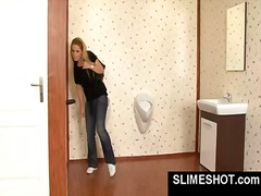 Blonde jerks of dick in gloryhole and...