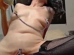 Pouring some hot wax all over her pussy